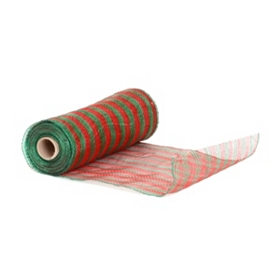 Red & Green Stripe Mesh Ribbon