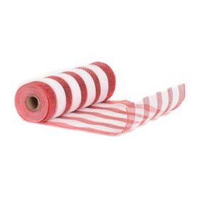 Red & White Stripe Mesh Ribbon