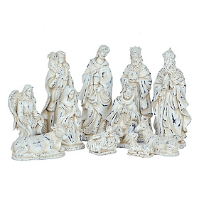 Sparkling Ivory Nativity Scene, Set of 11