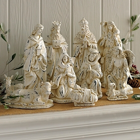 Sparking Ivory Nativity Scene, Set of 11