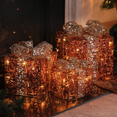 Pre-Lit Bronze Glitz Gift, Set of 3
