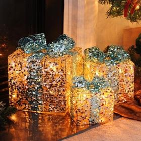 Pre-Lit Champagne Glitz Gift, Set of 3