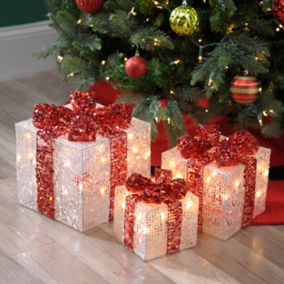 Pre-Lit Silver Glitz Gift, Set of 3