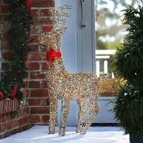 Pre-Lit Tinsel Reindeer, 34 in.