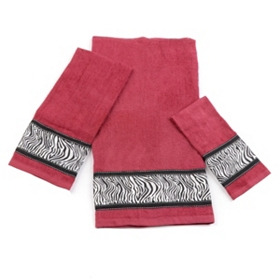Red Zebra Print 3-pc. Towel Set
