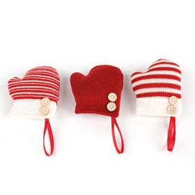 Knitted Mitten Ornament, Set of 3