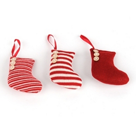 Knitted Stocking Ornament, Set of 3
