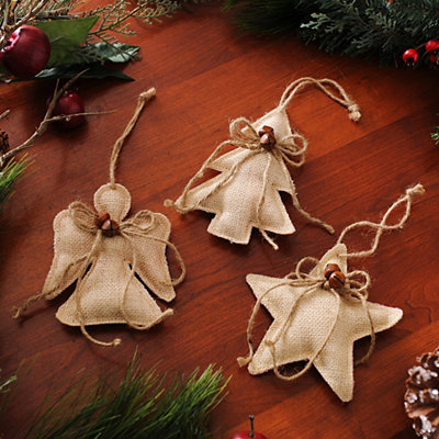 Natural Burlap Ornament, Set of 3