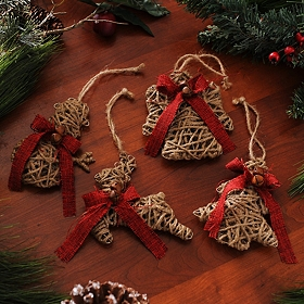 Natural Jute Wrapped Ornaments, Set of 4