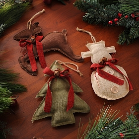 Colored Burlap Ornament, Set of 3