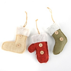 Burlap Stocking Ornament, Set of 3