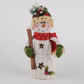 Skiing Snowman Knit Statue, 12 in.