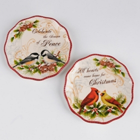 Christmas Cardinal Sentiment Plates