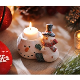 Ceramic Sugared Snowman Votive