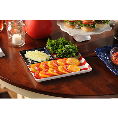 American Flag Ceramic Sectional Platter