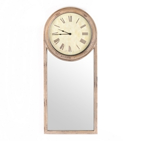 Distressed Cream Clock with Mirror