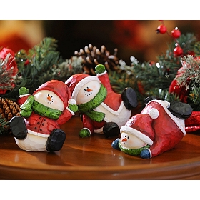 Slipping & Sliding Snowmen Statues, Set of 3