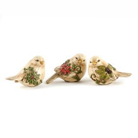 Holiday Cream Bird Figurine