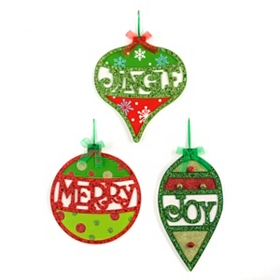 Glitzy Christmas Ornament Plaques