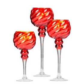 Red Twist Mercury Glass Charisma, Set of 3