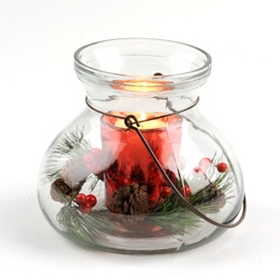 Glass Pine & Red Berry Candle Holder