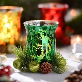 Green Mercury Glass & Floral Candle Holder