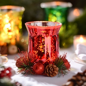 Red Mercury Glass & Floral Candle Holder