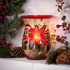 Mercury Glass Poinsettia Hurricane