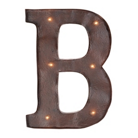 Brown LED Light-Up Letter Wall Plaque, B
