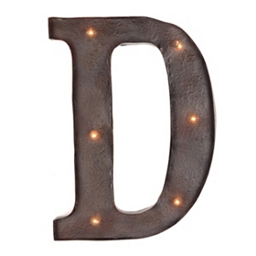 Brown LED Light-Up Letter Wall Plaque, D