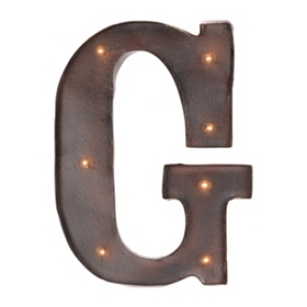 Brown LED Light-Up Letter Wall Plaque, G