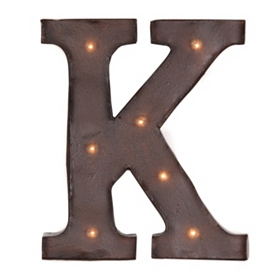 Brown LED Light-Up Letter Wall Plaque, K