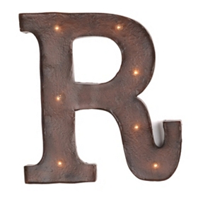 Brown LED Light-Up Letter Wall Plaque, R