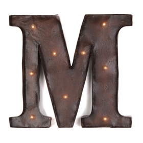 Brown LED Light-Up Letter Wall Plaque, M