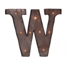Brown LED Light-Up Letter Wall Plaque, W