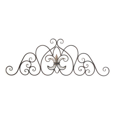 Fleur-de-Lis Scroll Metal Wall Plaque