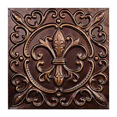 Bronze Metal Fleur-de-lis Tile Wall Plaque