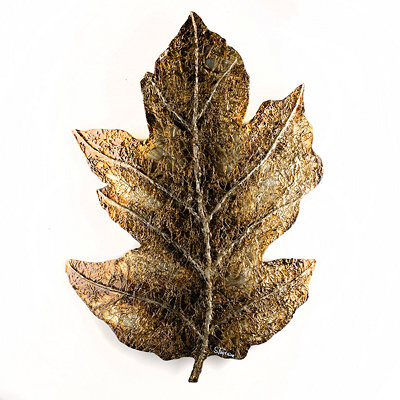 Golden Oak Leaf Wall Plaque