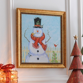 Corncob Pipe Snowman Framed Art Print