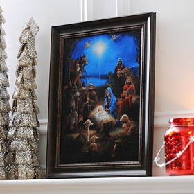Turquoise Sky Nativity Framed Art Print