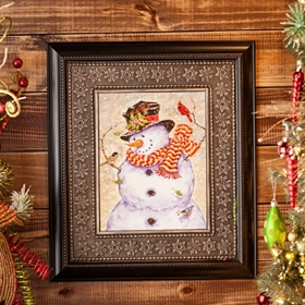 Frosty Snowman Framed Art Print
