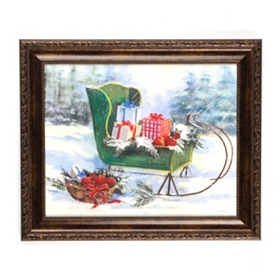 Green Sleigh Framed Art Print