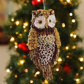 Leopard Print Owl Ornament