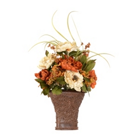 Orange & Cream Peony Floral Arragement, 23 in.