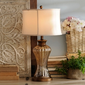 Mercury Glass Gold Table Lamp