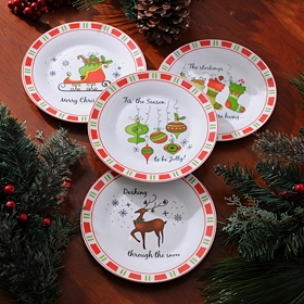 Ceramic Christmas Plates, Set of 4