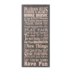 Playroom Rules Canvas Art Plaque