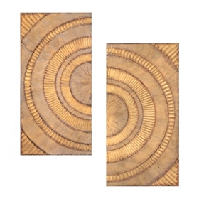 Gold Burst Metal Wall Plaque, Set of 2