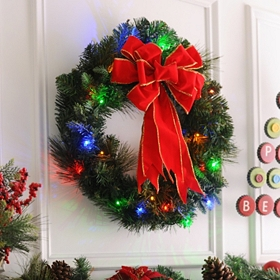 Pre-Lit Door Wreath with Color Lights