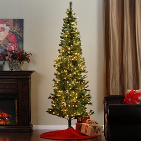 7.5 ft Slim Christmas Tree with White Lights